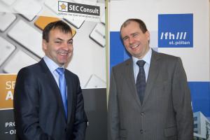 Johann Haag, Studiengangsleiter und Vizerektor der FH St. Pölten (links) und Markus Robin, General Manager bei SEC Consult