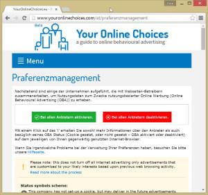 """""""Your Online Choices"""" gewährt dem Benutzer die Freiheit, selbst zu entscheiden, wer nutzungsbasierte Online-Werbung zeigen darf und wer nicht."""