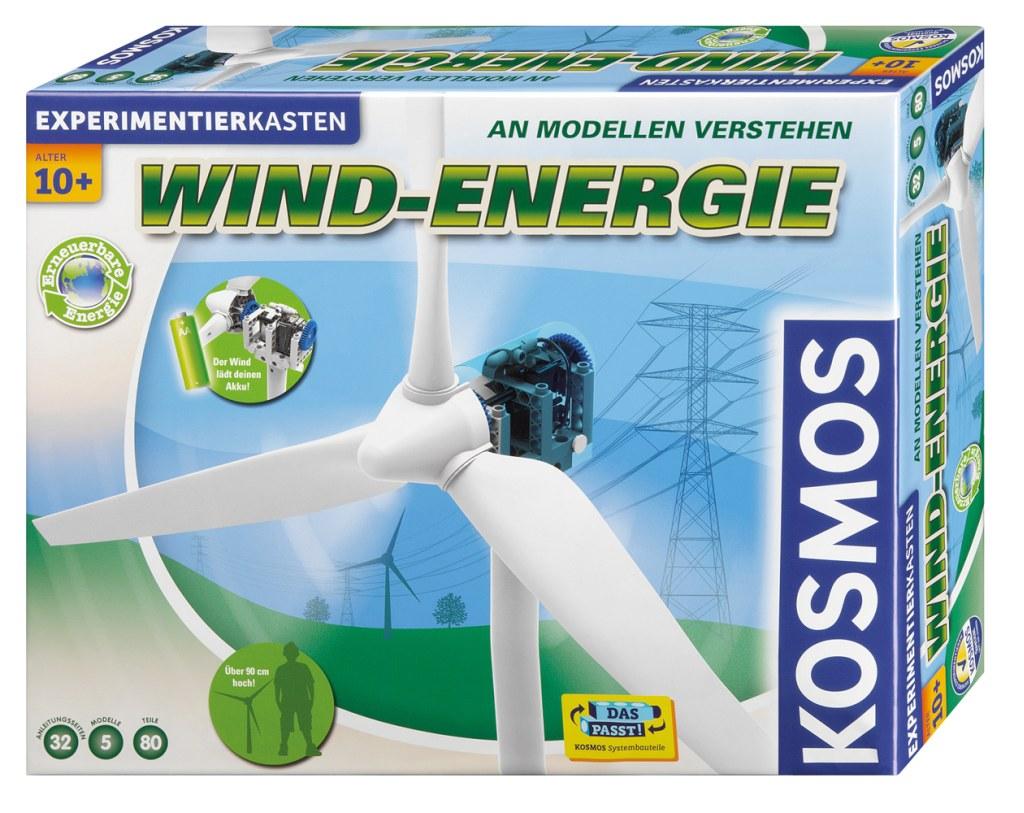 """Der Kosmos Experimentierkasten """"Wind-Energie"""" kostet knapp 40 Euro und erlaubt es, ein eigenes, kleines Windkraftwerk aufzubauen. (c) Kosmos"""