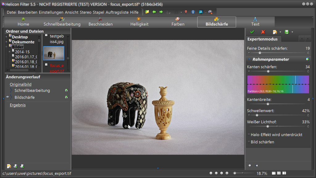 Helicon Filter bietet zahlreiche Optionen zur Nachbearbeitung von Fotos.